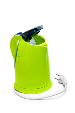electric tea kettle: electric green kettle isolated on white background