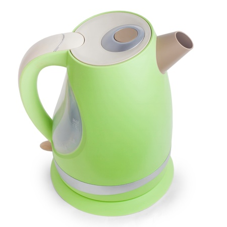 electric tea kettle: electric green tea kettle isolated Stock Photo