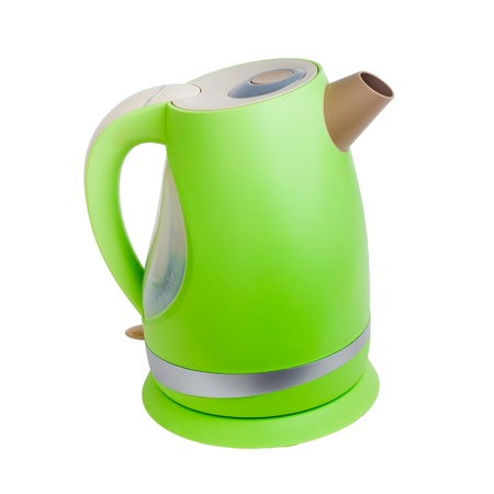electric kettle teapot green tea isolated on white background (clipping path) photo