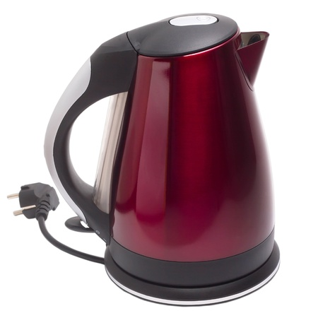 electric tea kettle: electric red kettle isolated white background Stock Photo