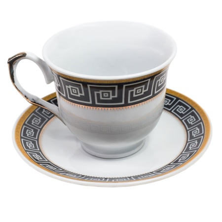 english cup saucer decorated with antique isolated (clipping path) photo