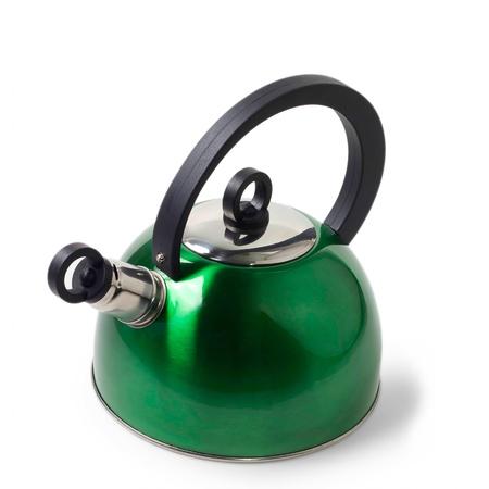 tetsubin: green iron kettle isolated on white background