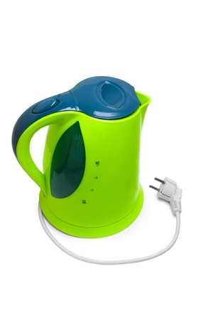 electric tea kettle: green kettle tea isolated on white background