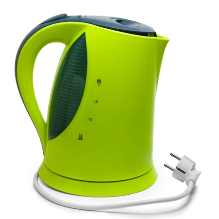electric tea kettle: green tea electric kettle isolated on white background with clipping path