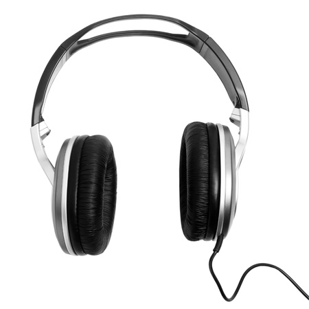 solated: black headphones solated on white background