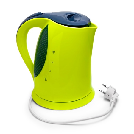 kettle green electric isolated on white background with clipping path
