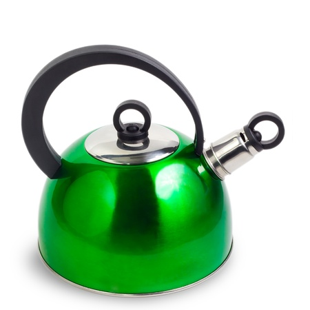 tetsubin: kettle green isolated on white background