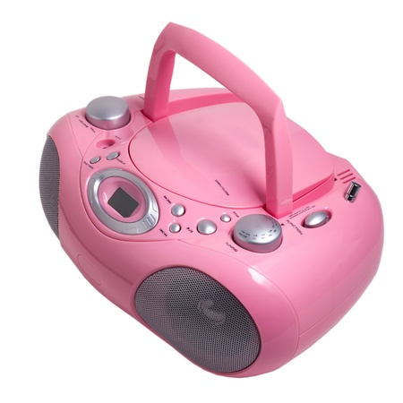 portable rom: mp3 pink stereo cd radio cassette recorder isolated on a white background Stock Photo