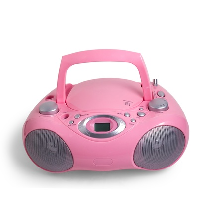 portable rom: mp3 pink stereo cd radio recorder isolated on a white background