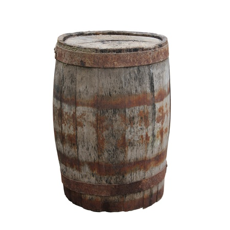 open old wooden barrel for wine isolated on white background photo