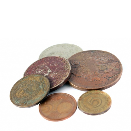 old coins on a white background Stock Photo - 16871766