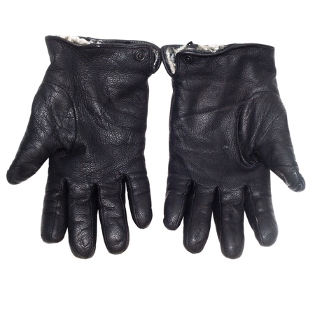 pair black of leather gloves isolated on white (clipping path) photo