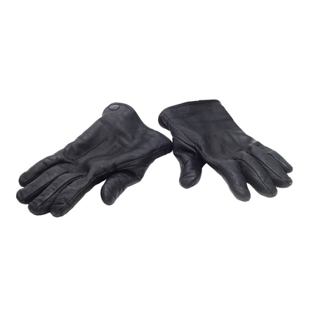 photo of object s: pair black of leather gloves isolated