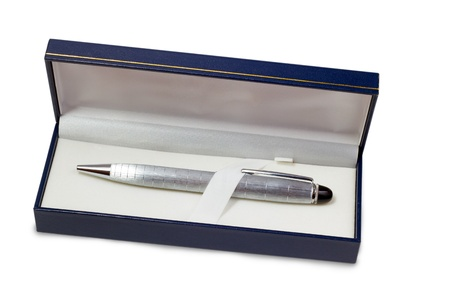 pen silver ballpoint in gift box isolated on white background  photo
