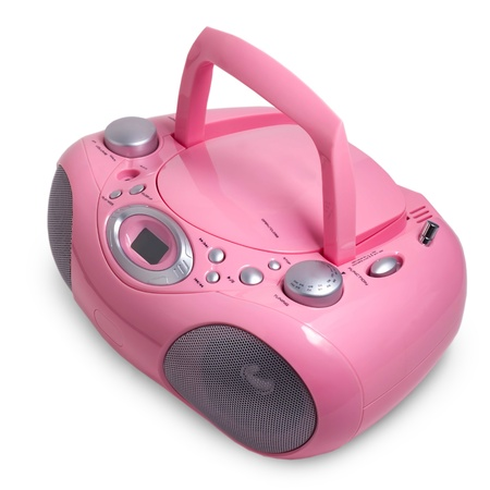 portable rom: pink mp3 stereo cd radio cassette recorder isolated on a white background