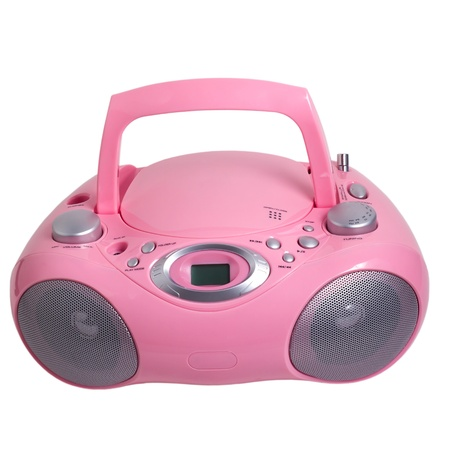 pink mp3 stereo cd radio recorder isolated photo