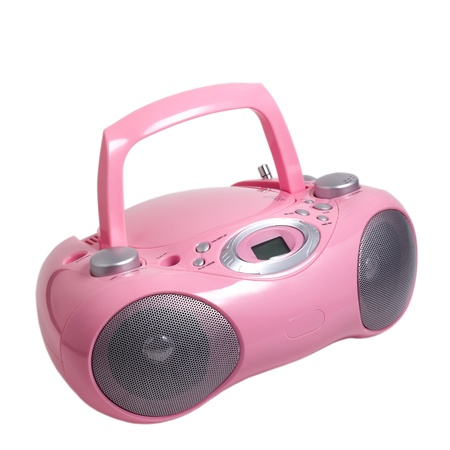 portable rom: pink stereo cd mp3 radio cassette recorder is isolated on a white background