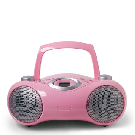 portable rom: pink tape boom box isolated on white background Stock Photo
