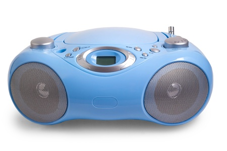 portable rom: recorder blue stereo CD mp3 radio isolated on white