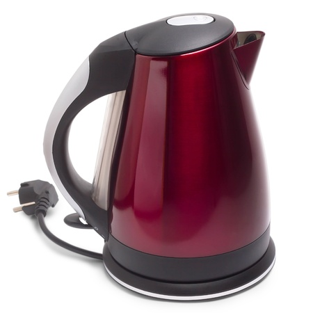 red teapot electric kettle isolated white background Stock Photo - 16874792