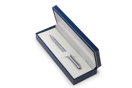 silver ballpoint pen in steel gift box isolated on white background photo