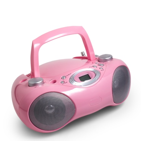 portable rom: stereo cd pink mp3 radio cassette recorder is isolated on a white background Stock Photo