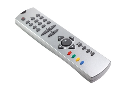 tv remote control access monitoring support isolated on white background photo