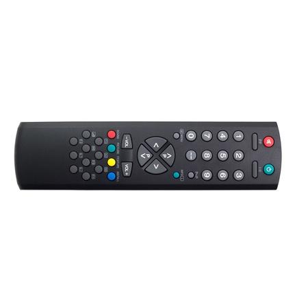 tv remote control black on white photo