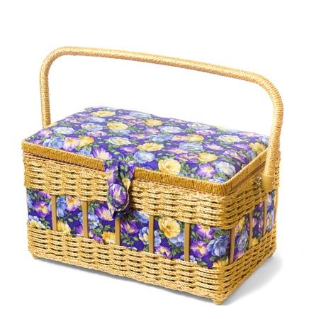 vintage wicker basket isolated on white background photo