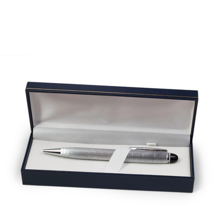 ballpoint silver pen in a gift box photo