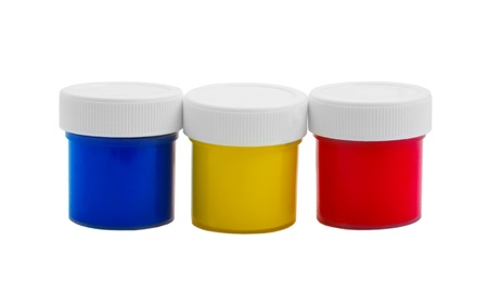 banks color oil paint bottles isolated on white background (clipping path) Stock Photo - 16868629