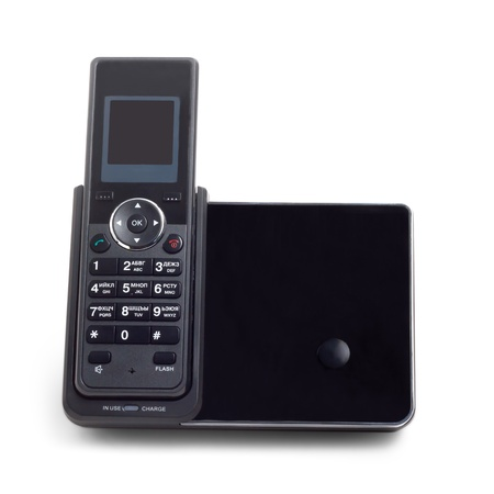 black wireless cordless phone isolated on a white background photo