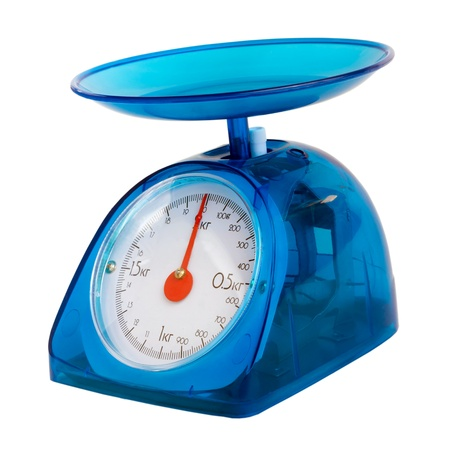 blue kitchen scales isolated(clipping path) photo