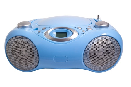 portable rom: blue stereo CD mp3 radio  recorder isolated on white Stock Photo