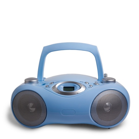 portable rom: blue stereo CD mp3 radio cassette recorder isolated on white Stock Photo