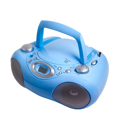 blue stereo radio boom box recorder CD mp3 isolated