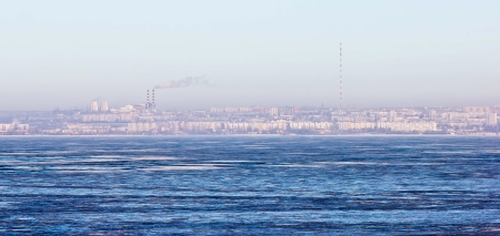 sea city with Russian winter ice and snow Stock Photo - 16899435