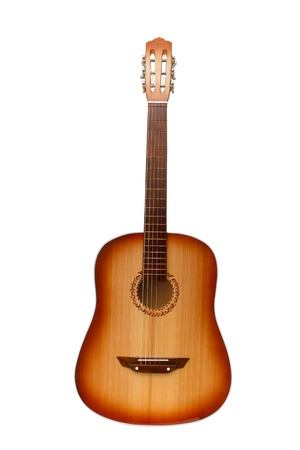 classical acoustic guitar isolated on white (clipping path)