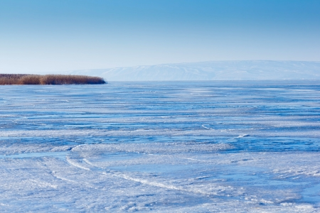 winter Volga River ice landscape Russia photo
