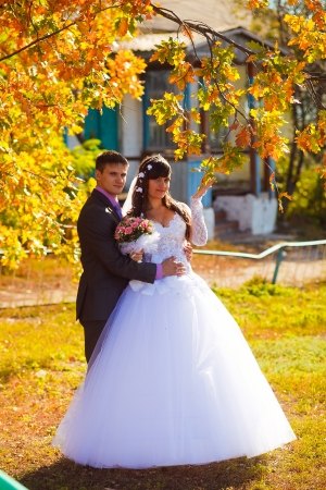 bride and groom newlyweds standing next to tree in autumn with yellow leaves