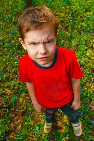 naughty child: dissatisfied with evil boy hairy thug in red shirt and jeans, standing on green grass in spring Stock Photo