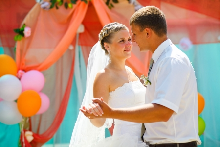 bride and groom, couple married on day of registration ceremony wedding dance Banque d'images