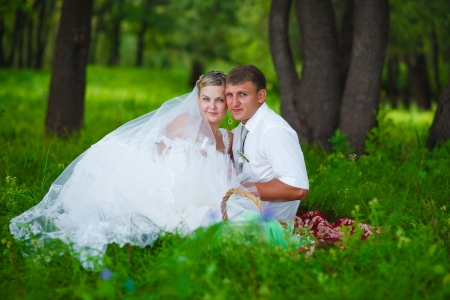 couple at the wedding the newlyweds a picnic in a forest glade, the bride and groom sitting on the green grass photo