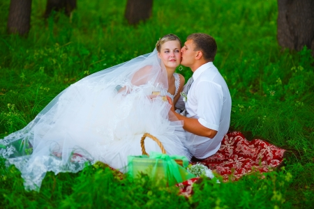 couple at wedding newlyweds a picnic in a forest glade, bride groom kiss bride photo