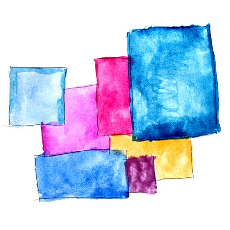 paint brush texture square blue yellow red watercolor spot blotch isolated Stock Photo
