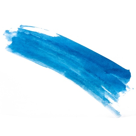 stroke blue strip paint brush color watercolor isolated on white photo