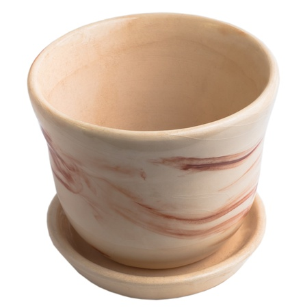 cup empty flower pot beige ceramic isolated (clipping path) Stock Photo