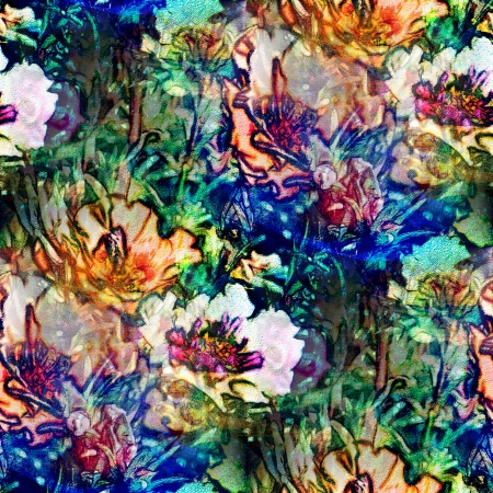 background watercolor art blue green flower seamless texture abstract brush photo