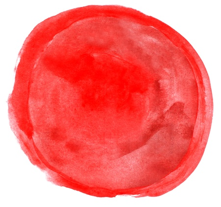 watercolor red circle isolated on white for your design photo