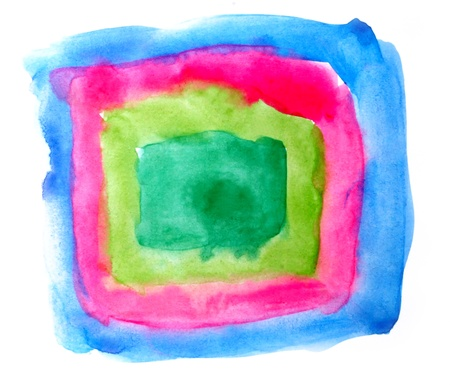 prejudiced: watercolor square red blue green isolated on white for your design Stock Photo